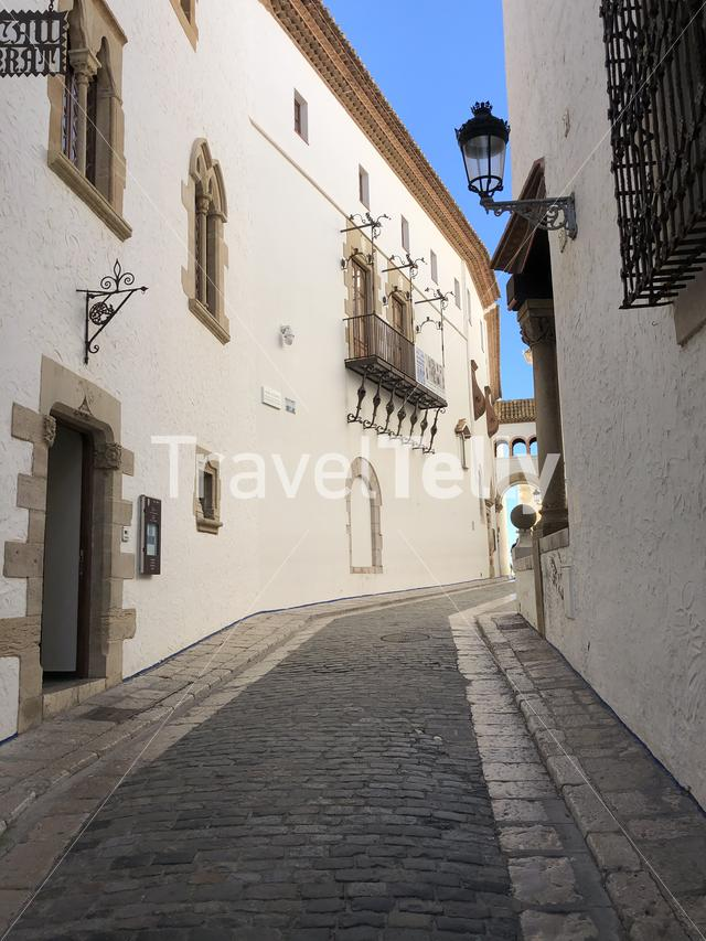 Street around the Museu del Cau Ferrat in Sitges, Spain