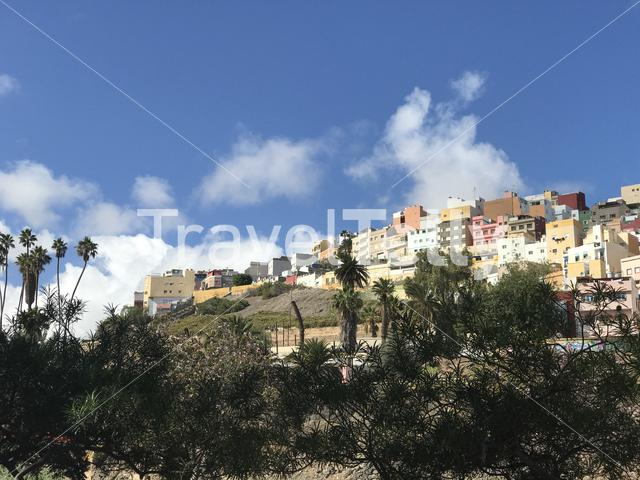 Colourful houses on the hill in Las Palmas Gran Canaria Canary Islands Spain