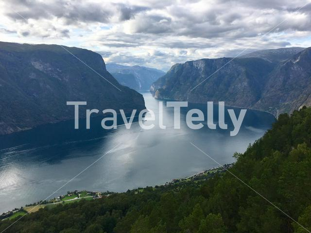 View over the Sognefjord from the Stelvastein view point near Aurland, Norway.