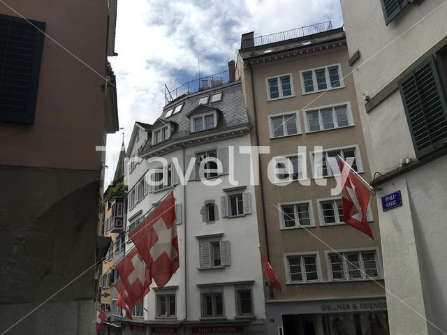 Swiss flags in the old town of Zurich Switzerland