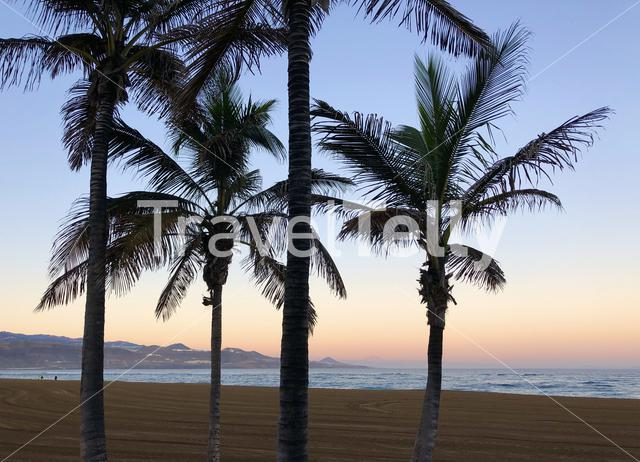 Sunrise at Las Canteras beach in Las Palmas, Gran Canaria