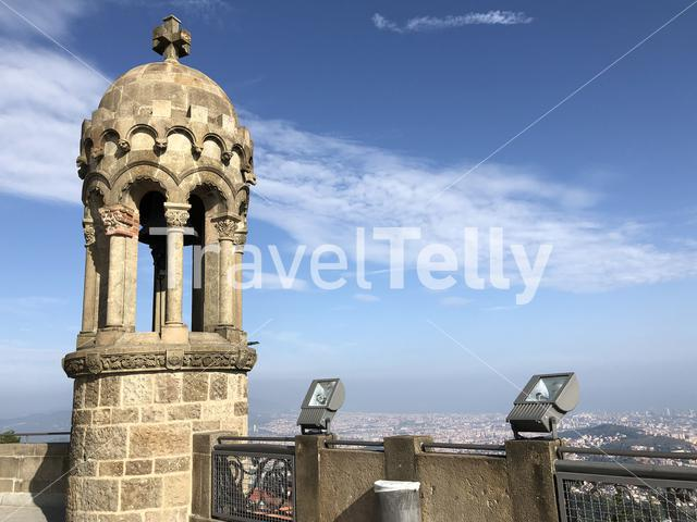 View from the expiatory Church of the Sacred Heart of Jesus in Barcelona, Spain