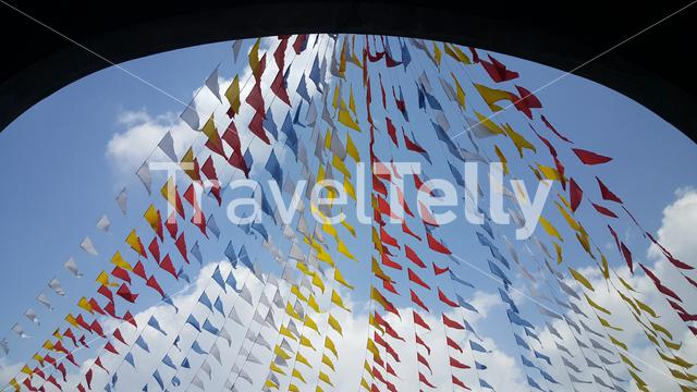 Colorfull flags at Santo Rosario church in Angeles, Philippines