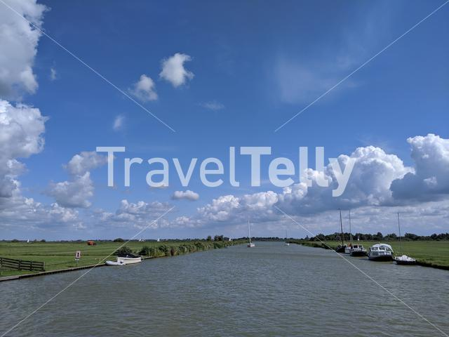 Canal in Friesland The Netherlands
