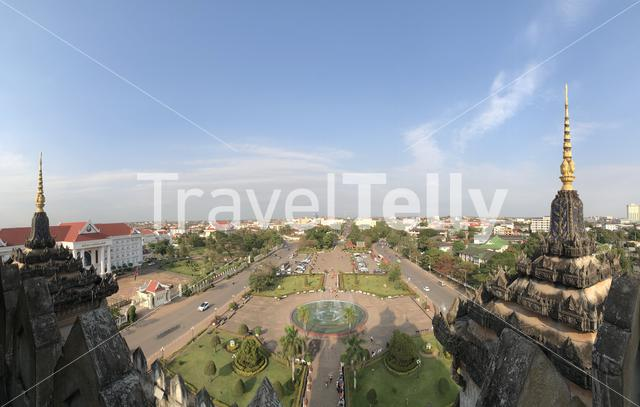 Panoramic view from the Patuxay Monument in Vientiane, Laos