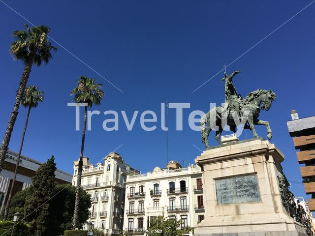 King James I statue at the Garden of the Paterre in Valencia Spain