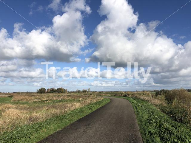 Road around Nijetrijne in Friesland, The Netherlands