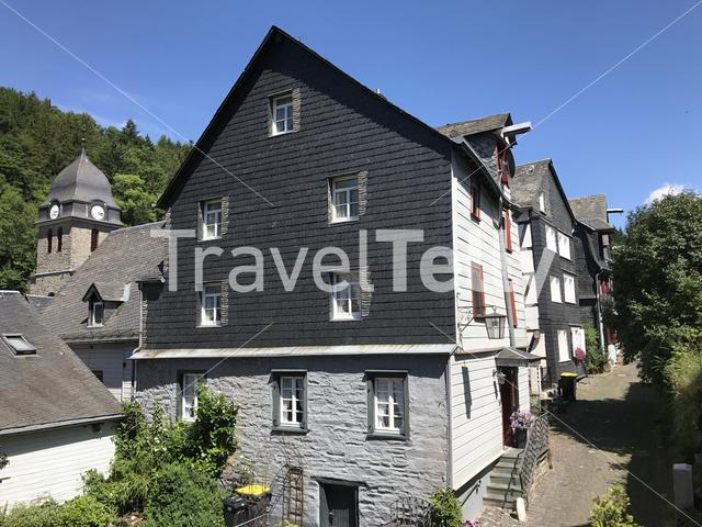 Timberframe houses and a church in Monschau Germany