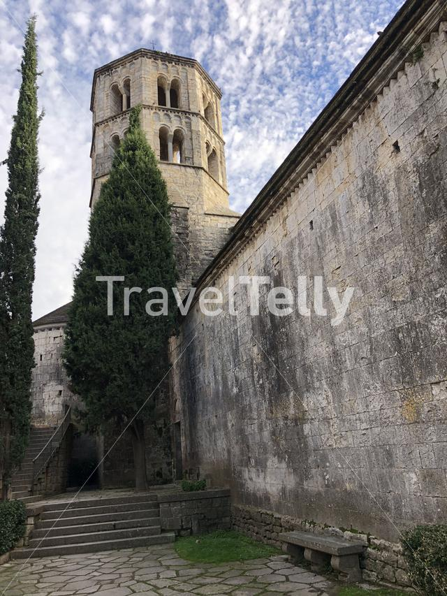 Tower of the Sant Pere de Galligants Monastery in Girona, Spain