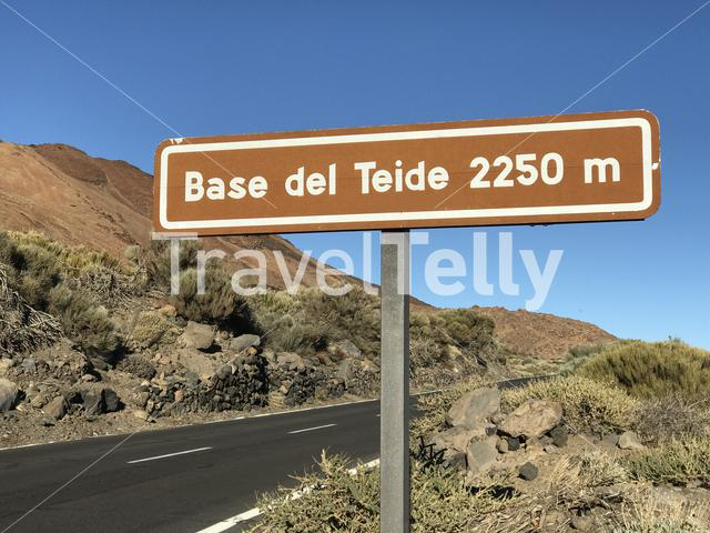 Sign from Mount Teide a volcano on Tenerife in the Canary Islands