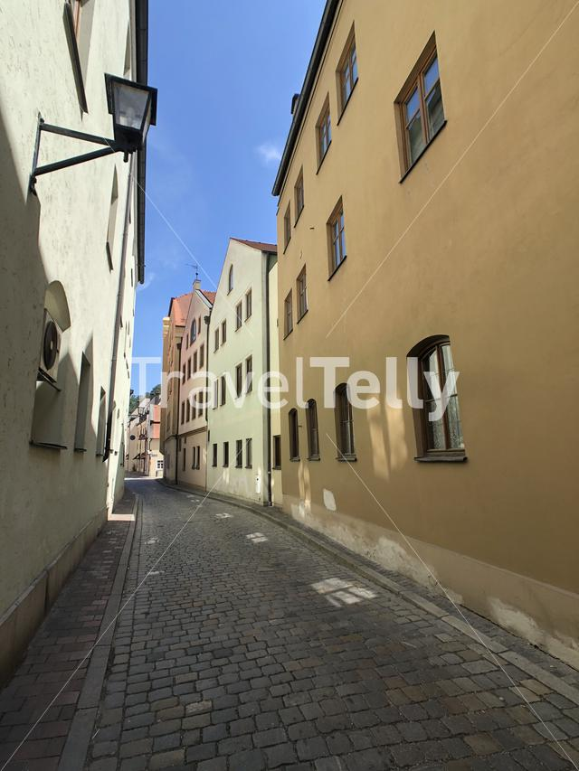 Colorful houses in the old town of Landshut Germany