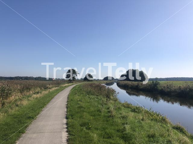 Bicycle path around Makkinga in Friesland The Netherlands