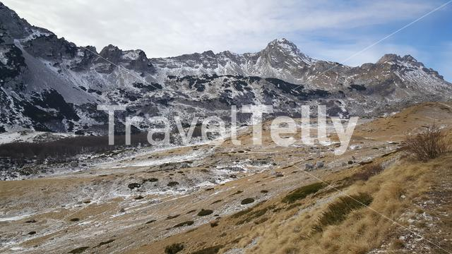 Snowy mountains in Durmitor national park Montenegro