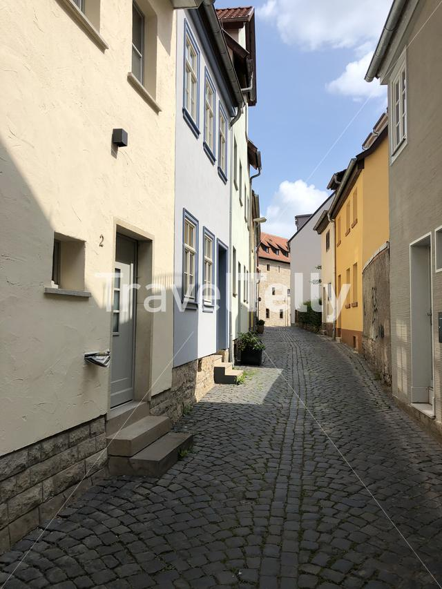 Street in the old town of Erfurt Germany