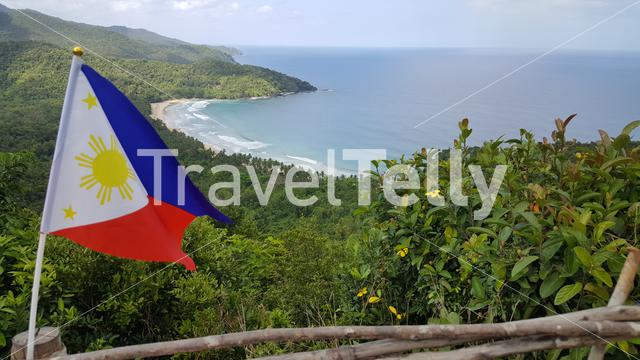 View over Nagtabon beach from hilltop