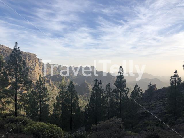 Landscape around Roque Nublo the volcanic rock on the island of Gran Canaria
