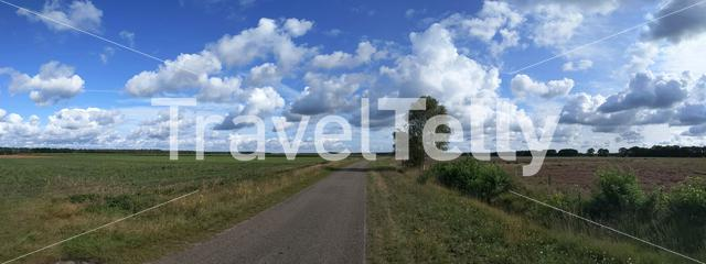 Panoramic landscape from around Elp in Drenthe, The Netherlands