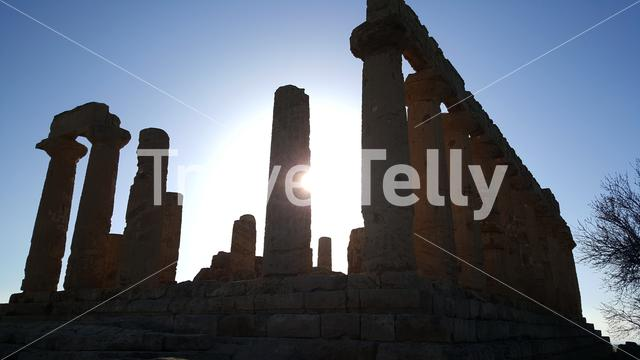 Sunshine behind the Pillars at the Temple of Juno a 5th-century BCE Greek temple in Agrigento, Italy