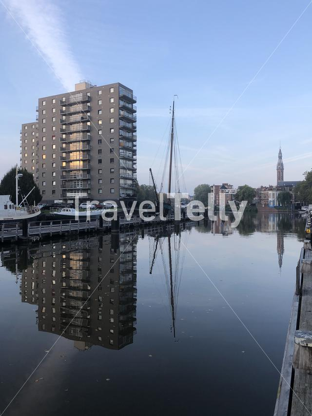 The Oosterhaven in the morning in Groningen The Netherlands