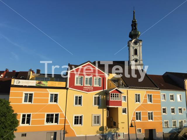 Colorful buildings in the village of Pöchlarn, Austria.
