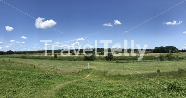 Landscape panorama around the river Vecht and Junne in Overijssel The Netherlands