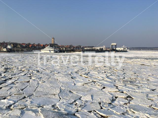 Ice floes around the harbor of Terschelling in The Netherlands