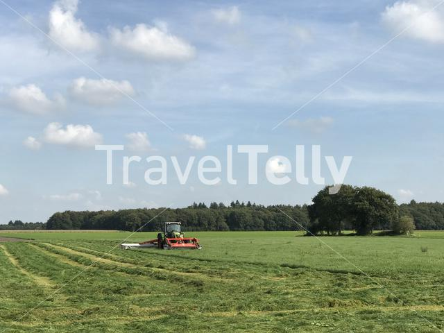 Farmer mowing the grass with a tractor in Drenthe The Netherlands