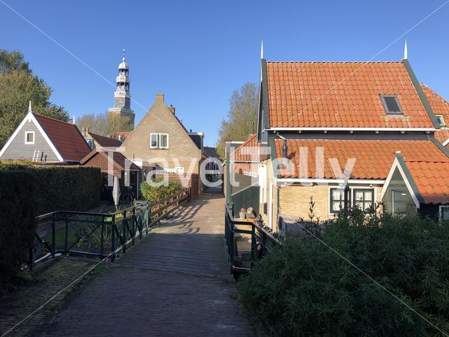 Old town of Hindeloopen during autumn in Friesland, The Netherlands