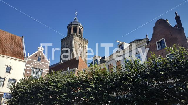 Traditional Dutch houses and the Saint Lebuinus Church in Deventer The Netherlands