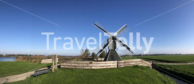 Panorama from a windmill around IJlst, Friesland The Netherlands