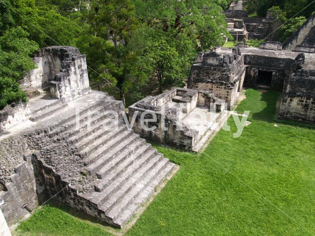 Ruins from a Mayan temple in Tikal National Park Guatemala