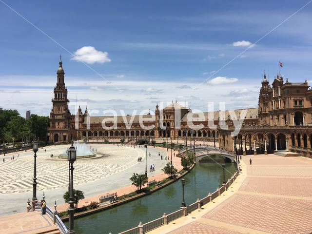 View from the balcony at the Plaza de España in Seville Spain