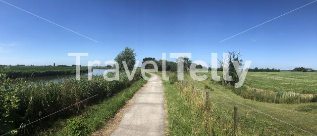 Panoramic landscape from around Ee, Friesland, The Netherland