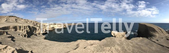 Panorama from a rocky coast of San Miguel de Tajao in Tenerife