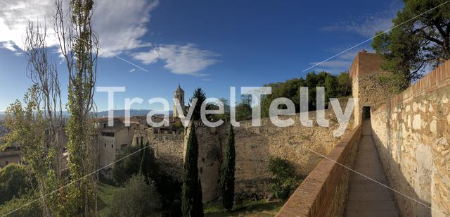 Panorama from the city wall of Girona in Spain