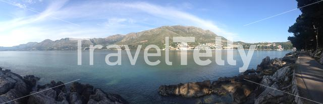 Mountain landscape panorama view from village Cavtat Croatia