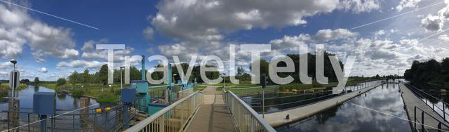 Panorama from a river lock at the Old ijssel in Gelderland The Netherlands