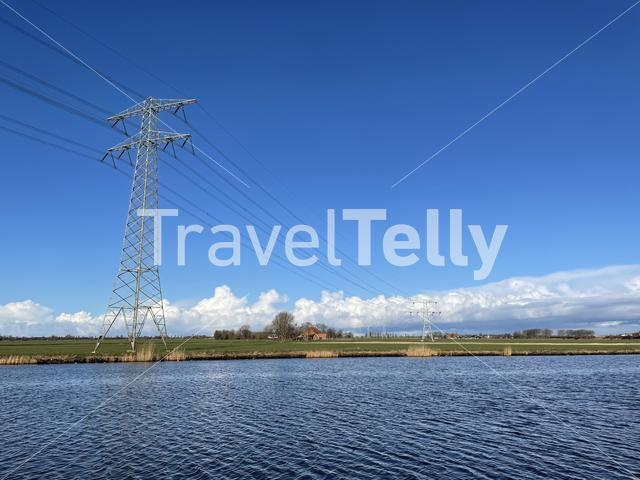 Power line next to the Prinses Margriet canal in Friesland The Netherlands