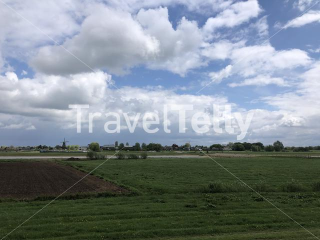 Cloudy scenery around Welsum in The Netherlands