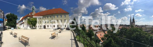 Panorama from the Saint Catherine Church in the old town of Zagreb Croatia