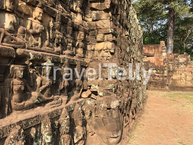 Preah Ponlea Sdach Komlong (Terrace Of The Leper King) at Angkor Thom in Cambodia