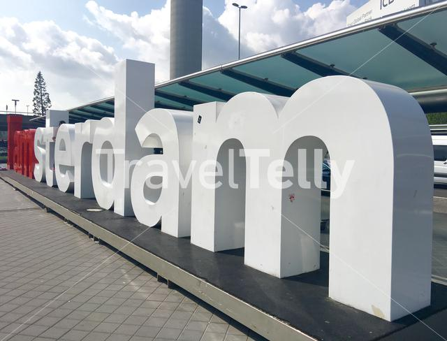 I Am Amsterdam sign at Schiphol Airport in The Netherlands
