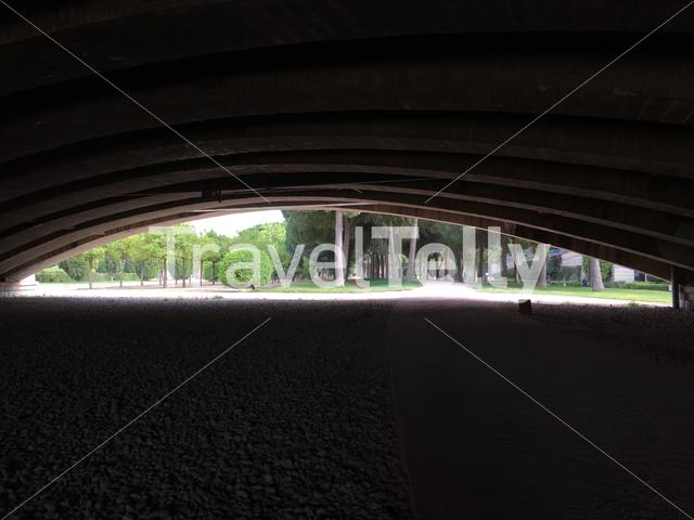 View from under the Pont d'Arago at the Turia Gardens in Valencia Spain