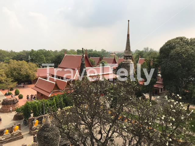 View from the elevated base of Wat Yai Chai Mongkhon a Buddhist temple in Ayutthaya, Thailand