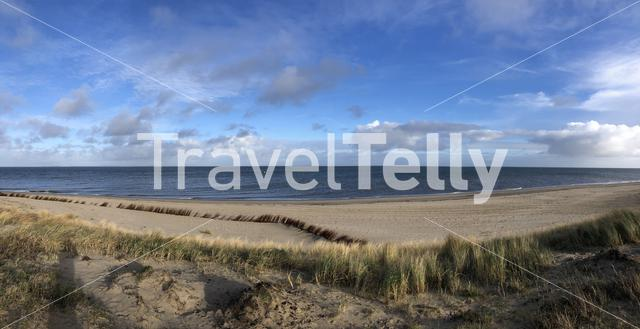 Panorama from the beach around Texel in The Netherlands