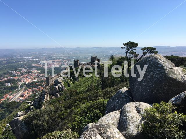 View from the Castelo dos Mouros in Sintra Portugal