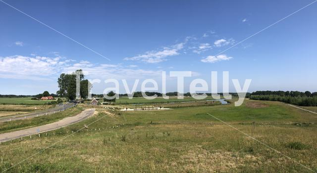 Panorama from landscape around the river Vecht in Overijssel, The Netherlands