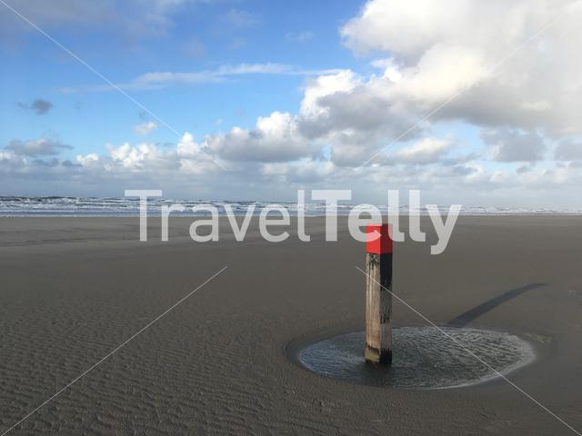 Beach pole at the beach of Terschelling in Friesland The Netherlands