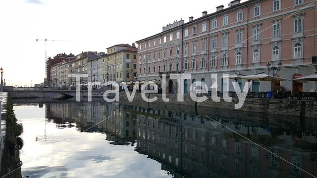 Houses at Ponte Rosso canal in Trieste, Italy