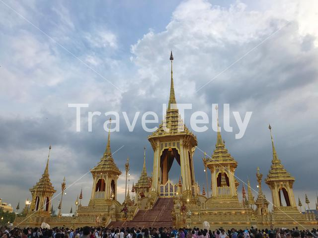 Crowd at the exhibition of the Royal Crematorium for His Majesty the late King Bhumibol Adulyadej in Bangkok Thailand